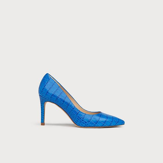 Floret Blue Croc Effect Pointed Toe Courts