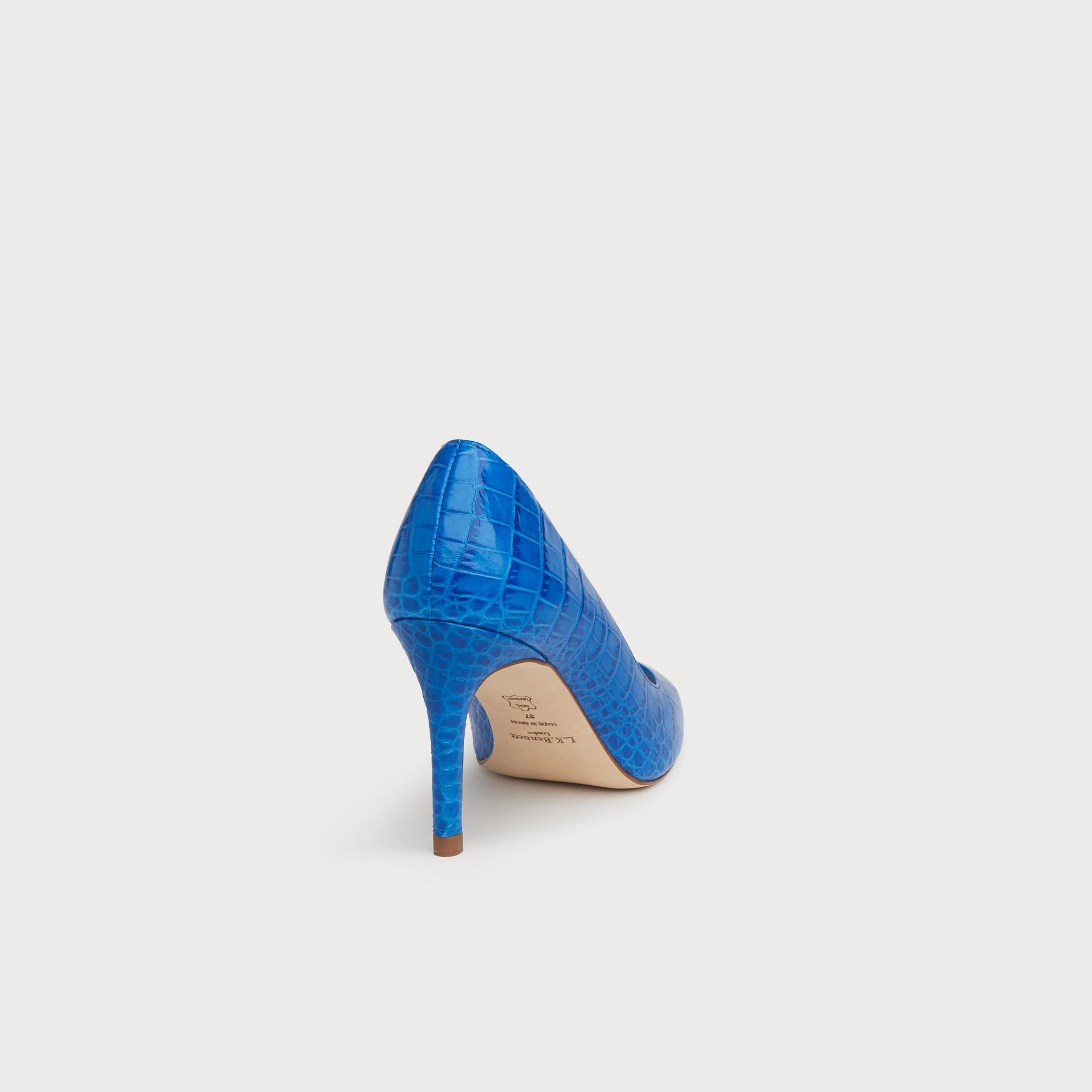 3120b1d214b Floret Blue Croc Effect Pointed Toe Courts