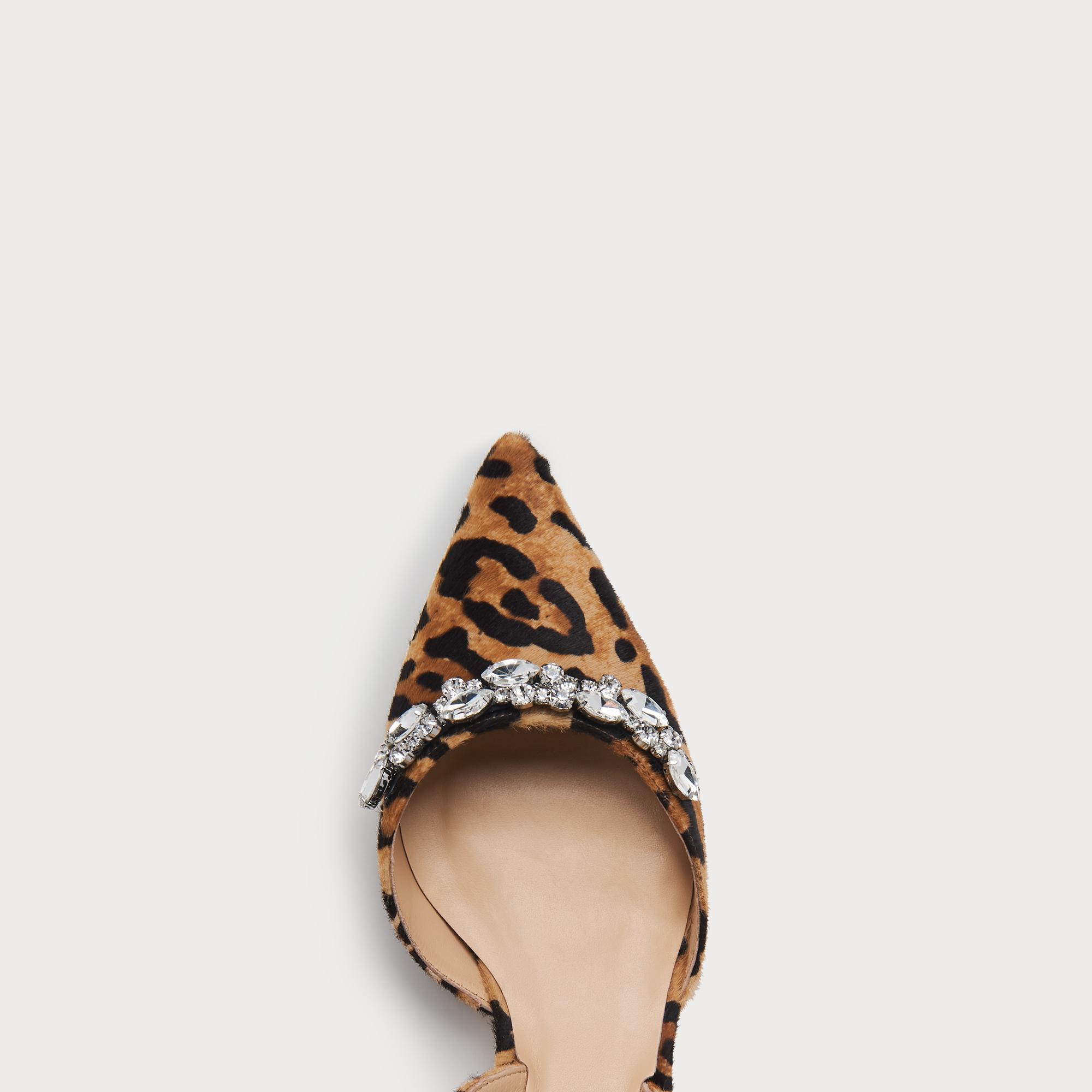 ef14056a1c6 Leyla Leopard Calf Hair Crystal Slingbacks