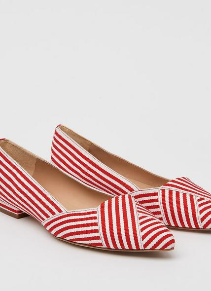 Savannah Red Striped Pointed Toe Flats