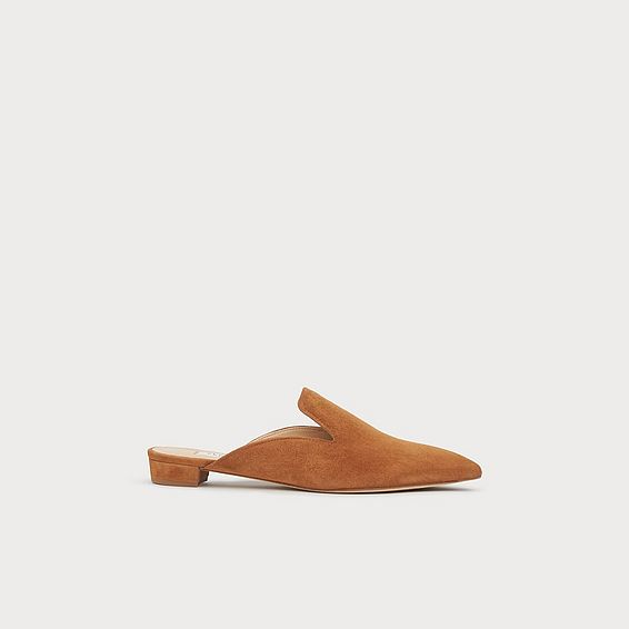 Senna Tan Suede Slipper Mules