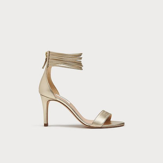 Tiffany Gold Leather Spaghetti Strap Sandals