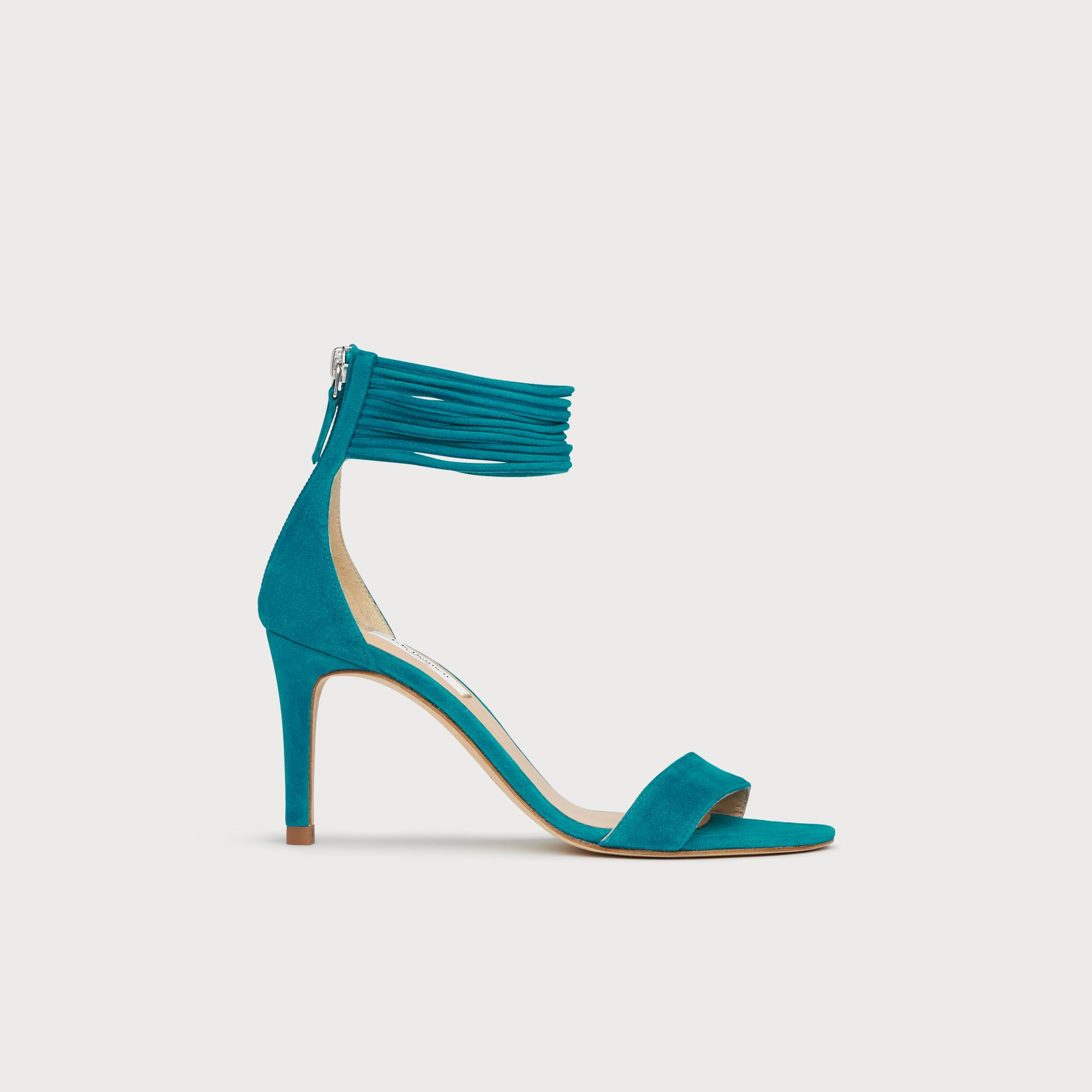 73f40b3810b Tiffany Blue Suede Spaghetti Strap Sandals