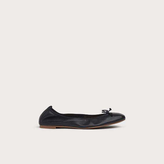 5924e5ef03f0 Trilly Black Leather Ballet Pumps