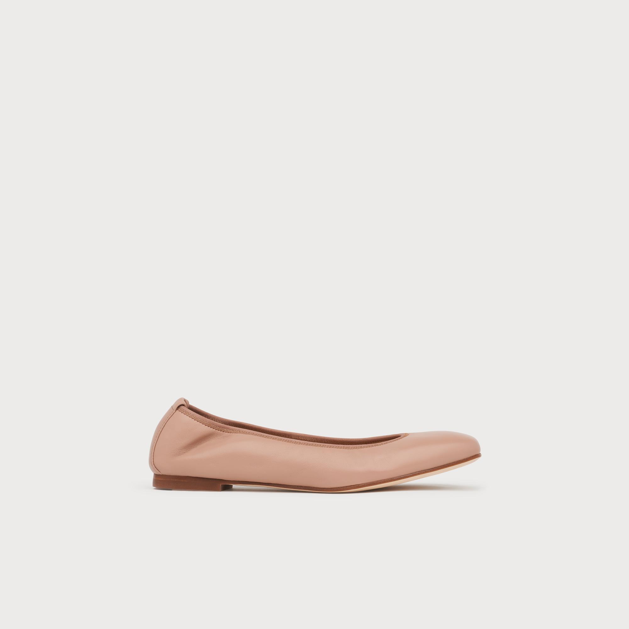 e8eb03d4e Trina Beige Leather Ballet Pumps