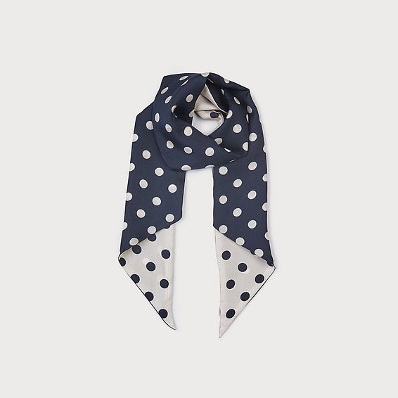 Lauren Navy Polka Dot Silk Scarf