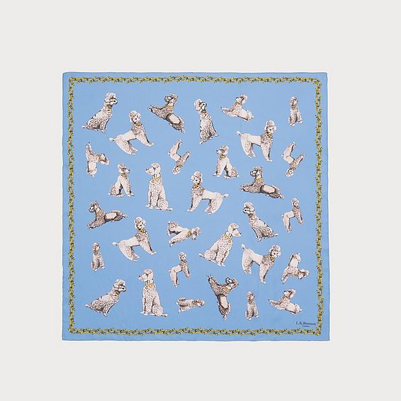 Milano Blue Poodle Print Silk Scarf