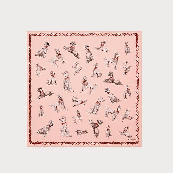 Milano Pink Poodle Print Silk Scarf