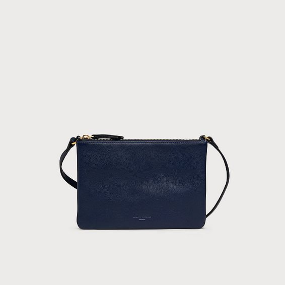 Bene Navy Leather Shoulder Bag