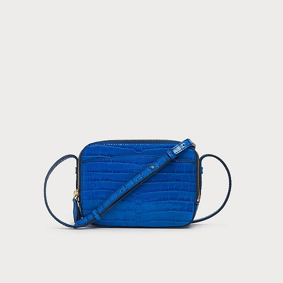 Mariel Blue Croc Effect Shoulder Bag