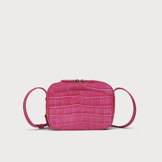 Mariel Pink Croc Effect Shoulder Bag