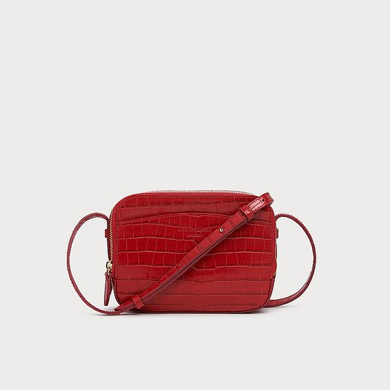 Mariel Red Croc Effect Shoulder Bag