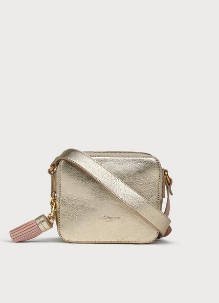 Marion Gold Leather Shoulder Bag