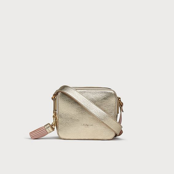 Marion Gold Leather Shoulder Bag