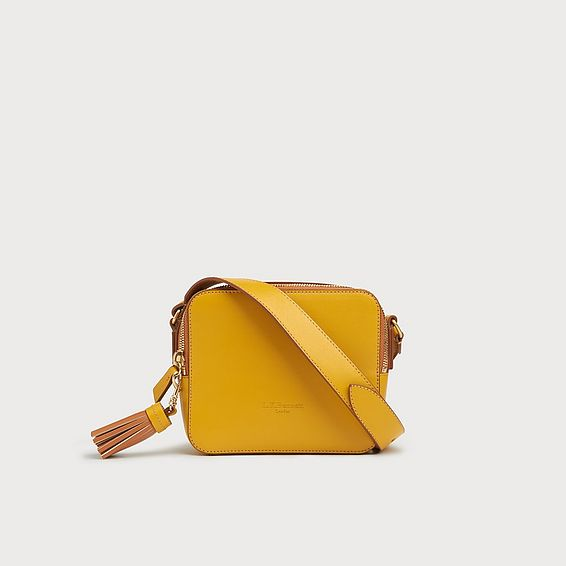 Marion Yellow Leather Shoulder Bag