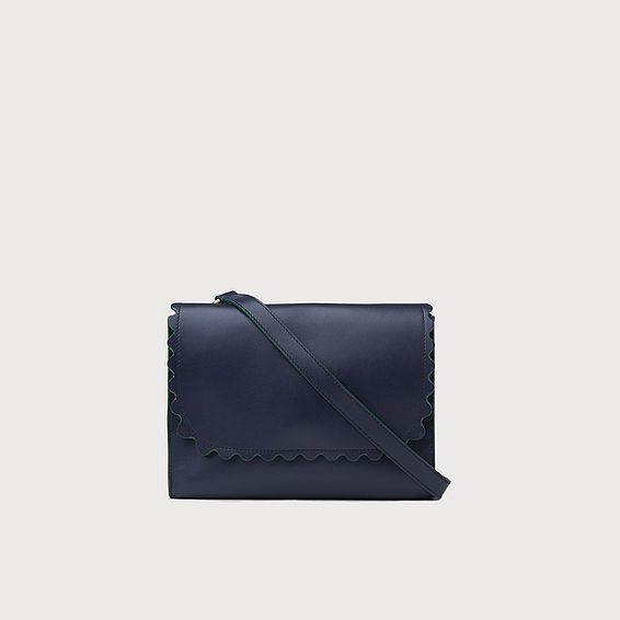 Solange Navy Leather Scallop Messenger Bag