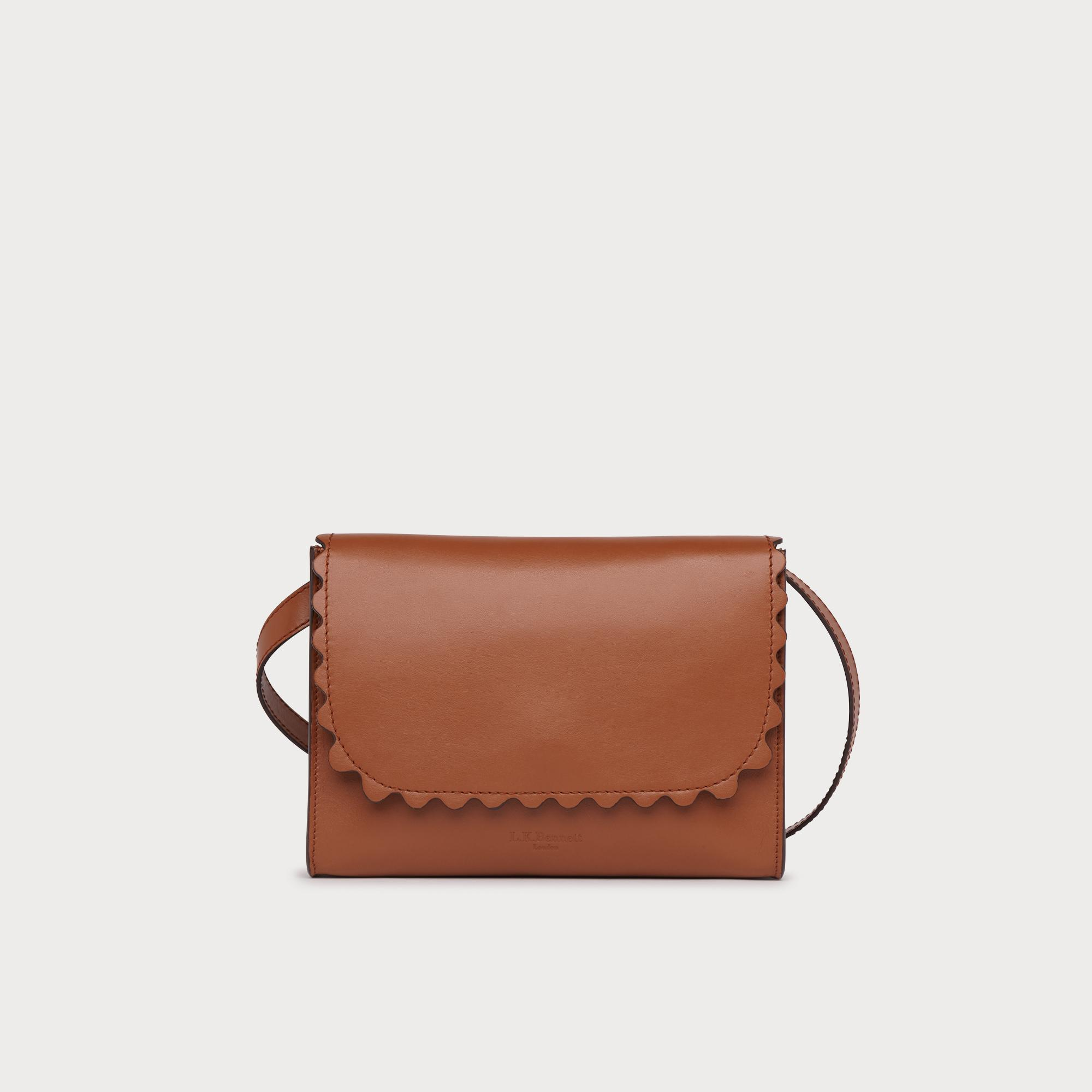 9e31e1918097 Solange Tan Leather Scallop Messenger Bag