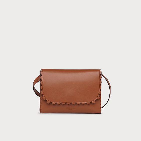 Solange Tan Leather Scallop Messenger Bag