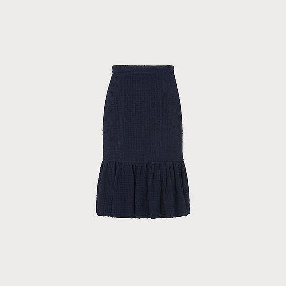 Ainsley Navy Tweed Pencil Skirt