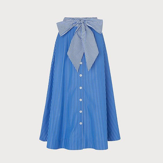 Alela Blue Striped Cotton Skirt