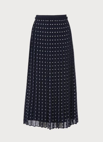 Avery Navy Polka Dot Skirt