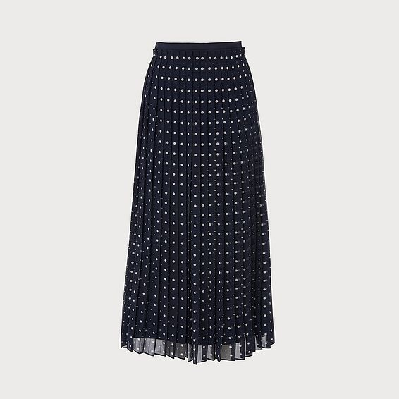 Avery Navy Polka Dot Skirt