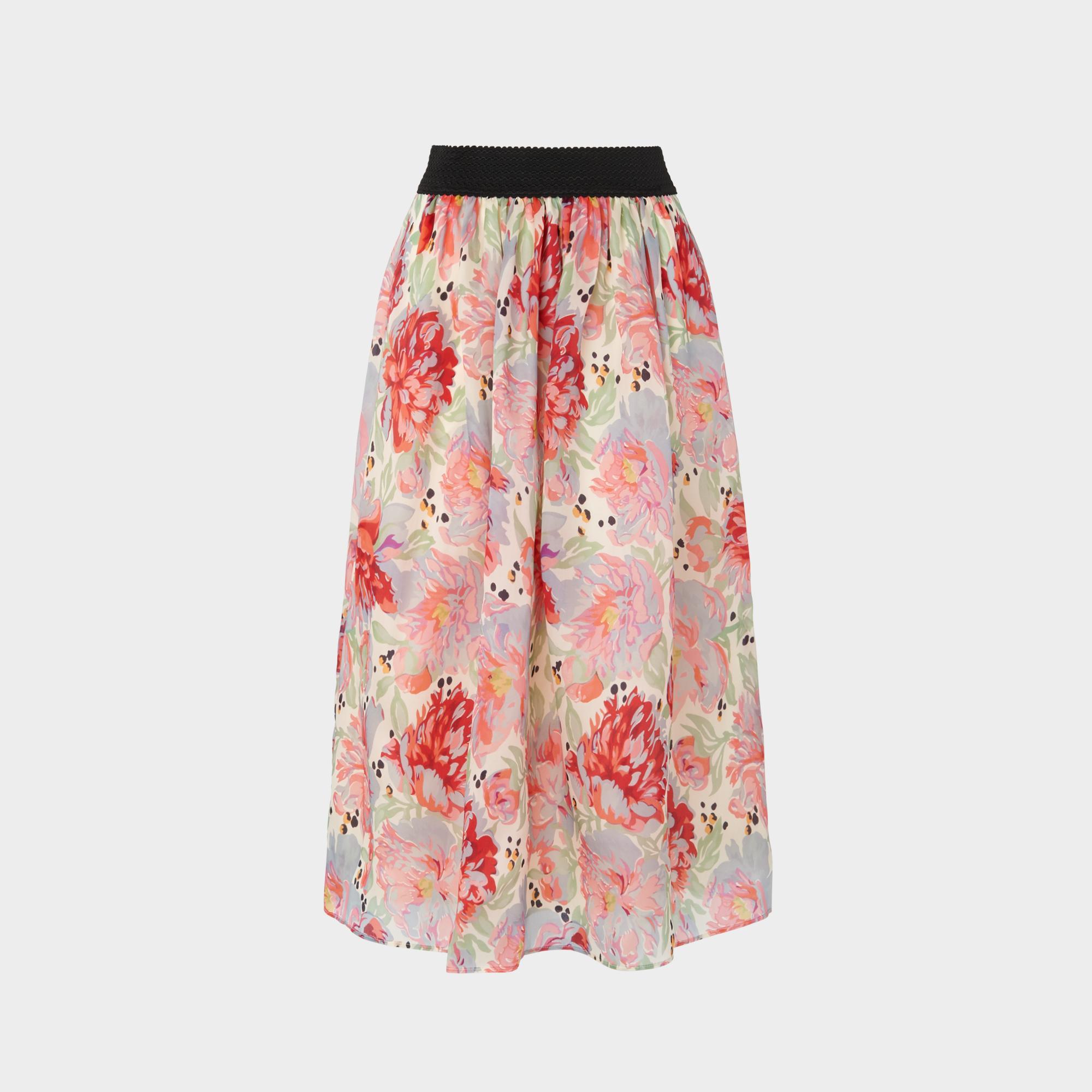 e1c0b9899926 Bouvier Rose Print Silk Organza Skirt | Clothing | L.K.Bennett