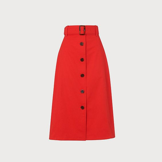 Oda Red Cotton Skirt