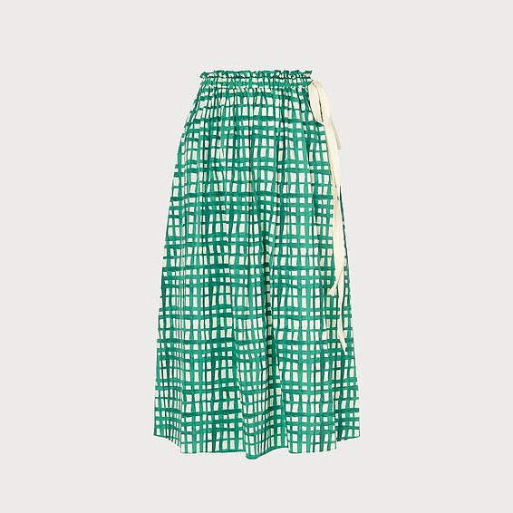Violet Painterly Check Green Skirt