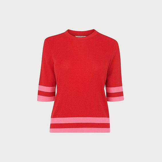Michi Red Ribbed Top