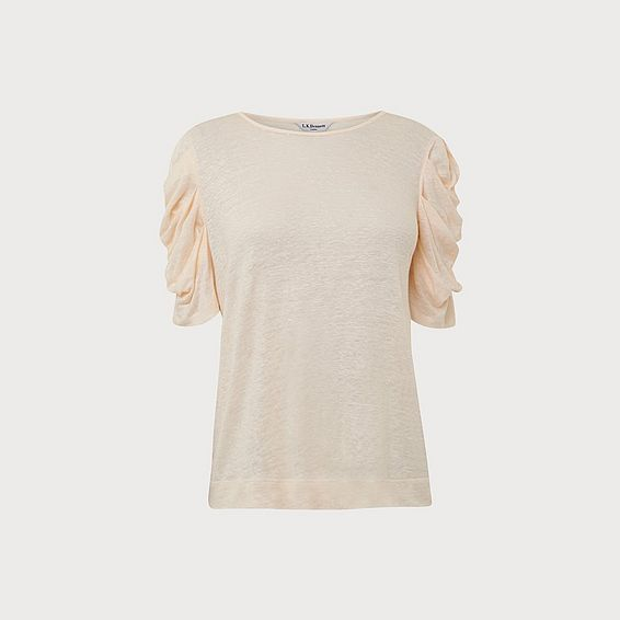 Rain Cream Ruched Sleeve Top
