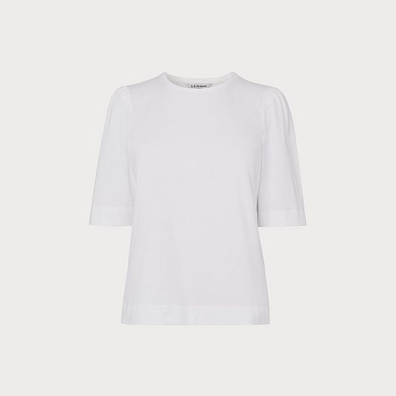 Saigon White Ruched Sleeve T-Shirt