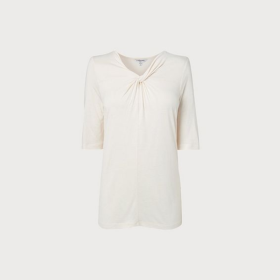 Twist Neck Cream Jersey Top