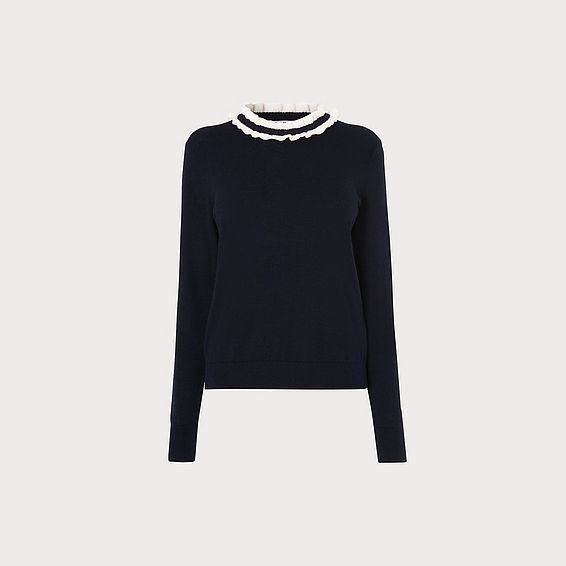 Anabelle Navy Frill Neck Jumper