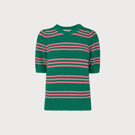 Isobel Green Cotton Stripe Jumper