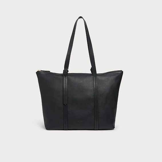 Blake Black Leather Tote Bag
