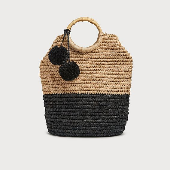 Ludmilla Black Raffia Tote Bag