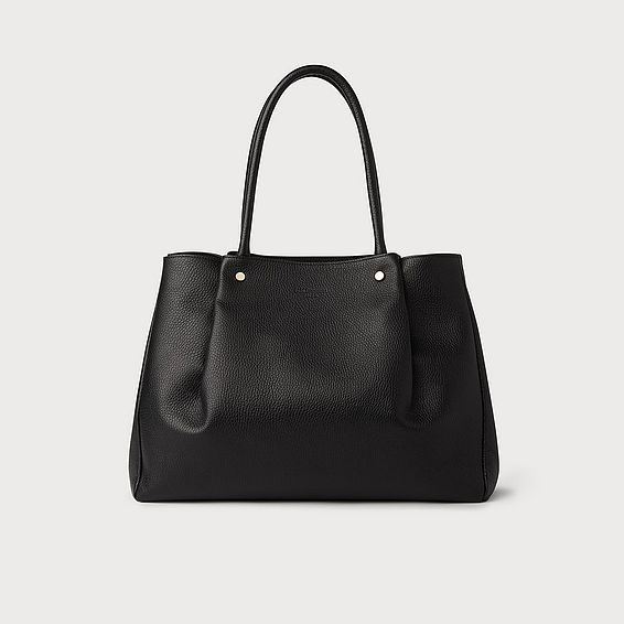 Regan Black Leather Tote Bag