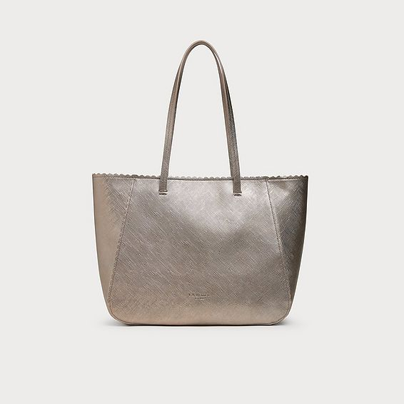 Shannon Gold Leather Scallop Tote Bag