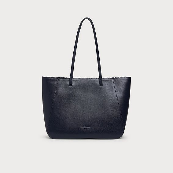 Shannon Navy Leather Scallop Tote Bag