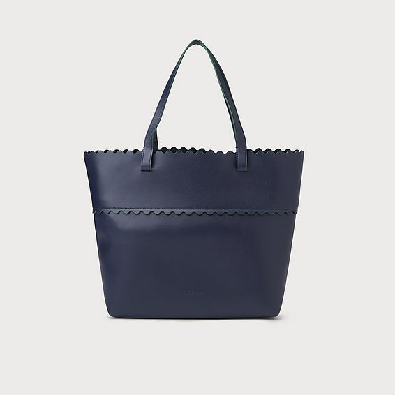 Sienna Navy Leather Scallop Tote Bag