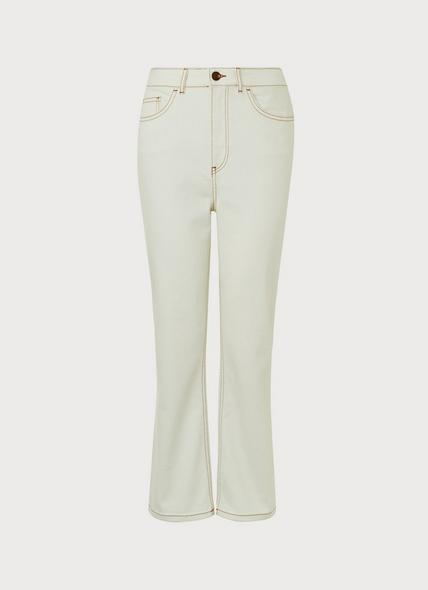 Devlin Cream Kick Flare Jeans