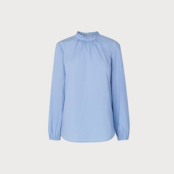 Elisha Blue Pleat Neck Shirt