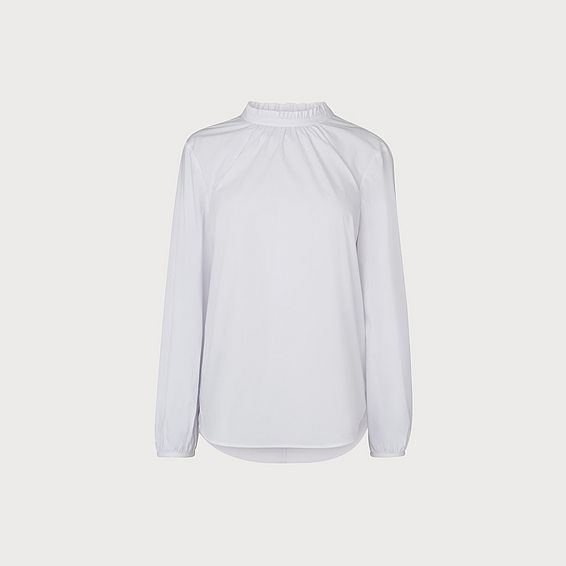 Elisha White Pleat Neck Shirt