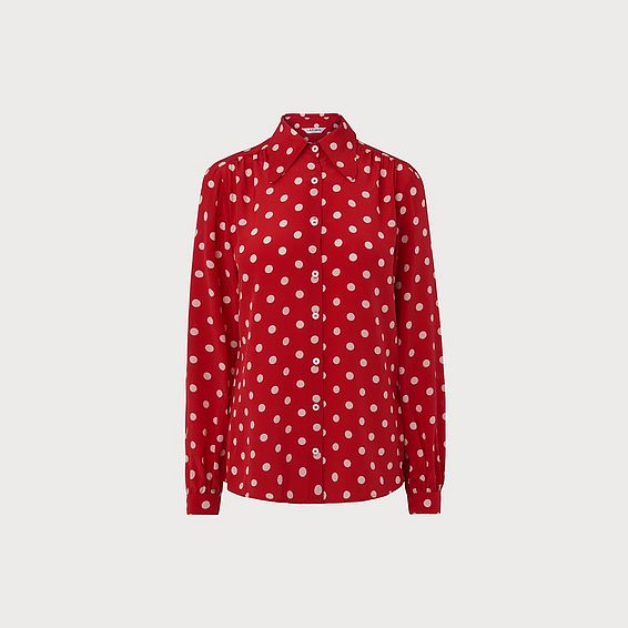 Eryn Red Polka Dot Silk Blouse