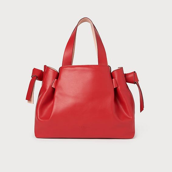 Geraldine Red Leather Tote Bag