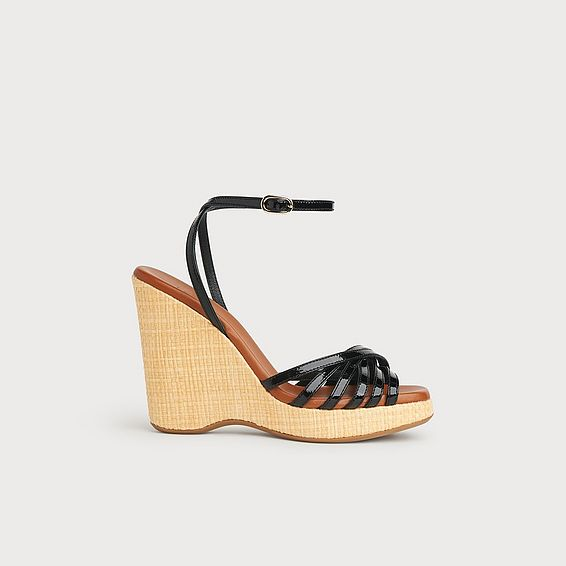 Solange Black Patent Strappy Wedges