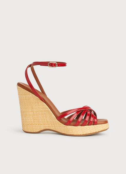 Solange Red Patent Strappy Wedges