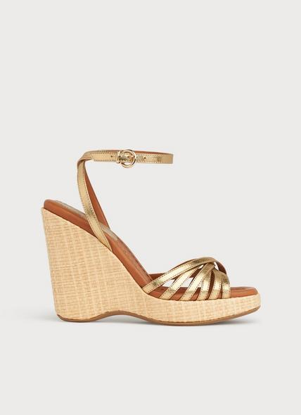 Solange Gold Leather Strappy Wedges