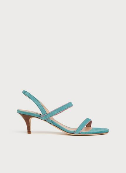 Nala Blue Suede Picot Trim Sandals